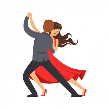 Professional dancer couple dancing latino colorful character vector Illustration