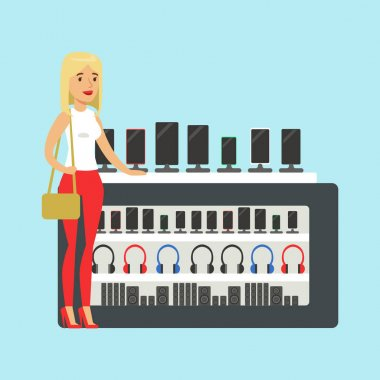 Young blond woman choosing a new mobile phone at appliance store colorful vector Illustration