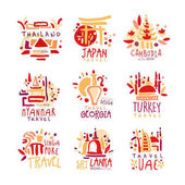 Photo Thailand, Japan, Cambodia, Myanmar, Georgia, Singapore, Turkey, Sri Lanka set of colorful promo signs. Summer travel hand drawn vector Illustrations
