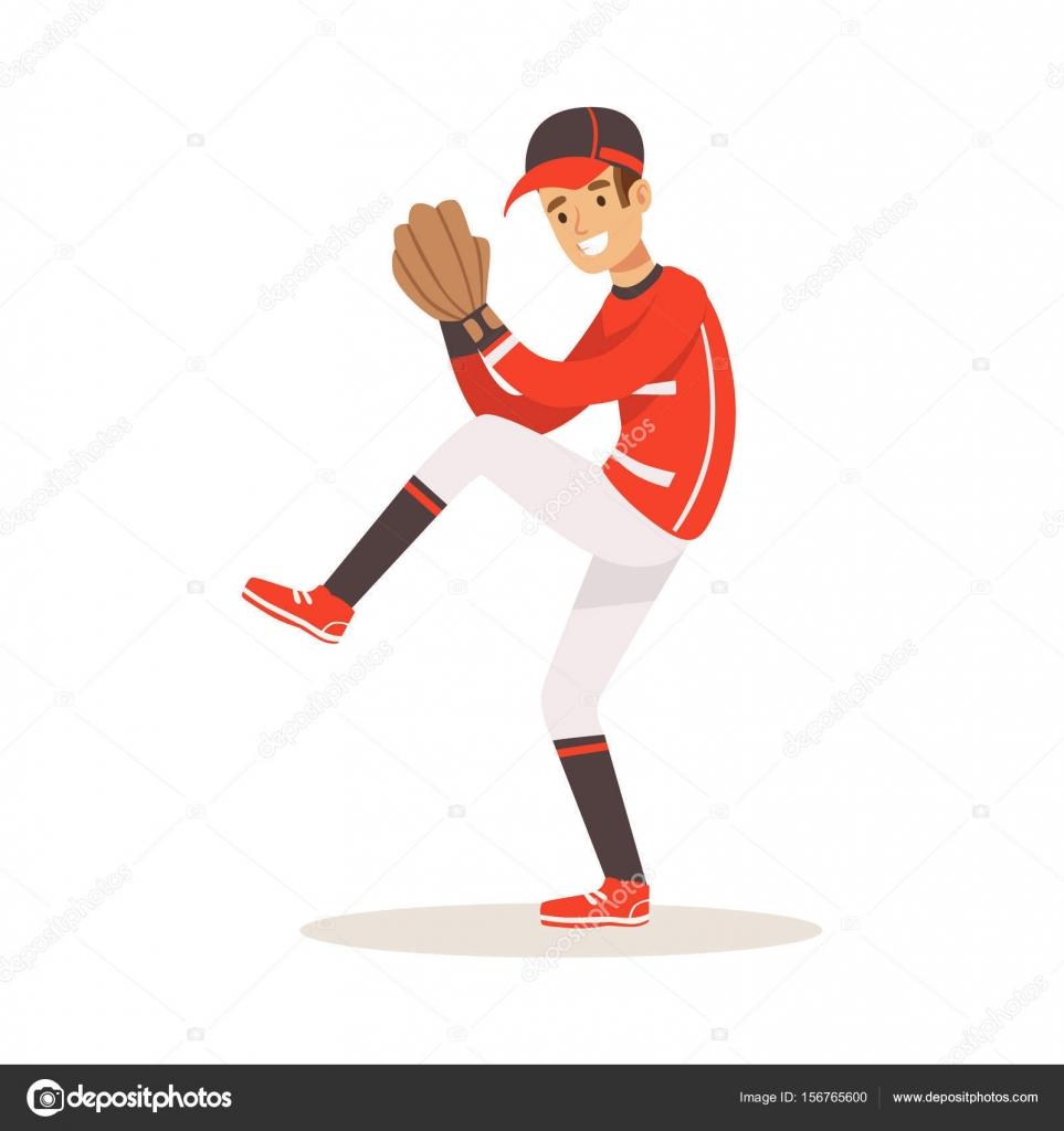 Jugador de béisbol en un uniforme rojo lanzamiento vector ilustración —  Vector de stock a19edea097c
