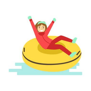 Girl having fun while sledding on snow rubber tube. Winter activity colorful character vector Illustration