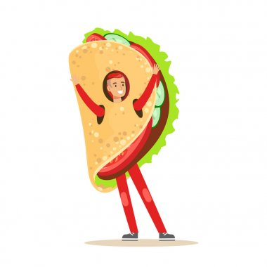 Man wearing mexican fajitas costume, fast food snack character vector Illustration