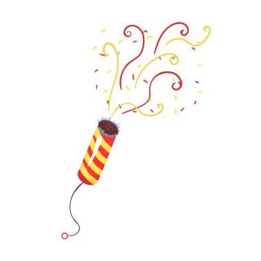 Exploding party popper with serpantin, celebration birthday symbol cartoon vector Illustration