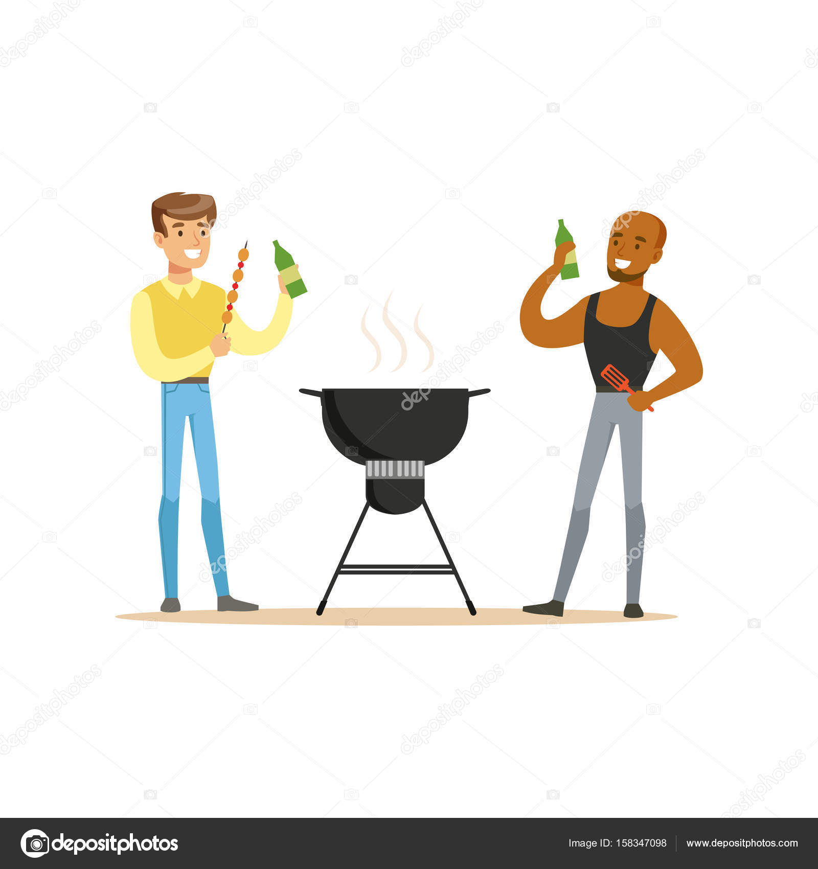 Two Friends Preparing Barbecue On A Grill And Drinking Beer Vector