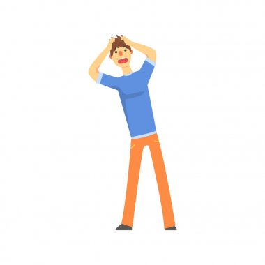 Frustrated sad man after car accident holding hands behind his head cartoon character vector Illustration