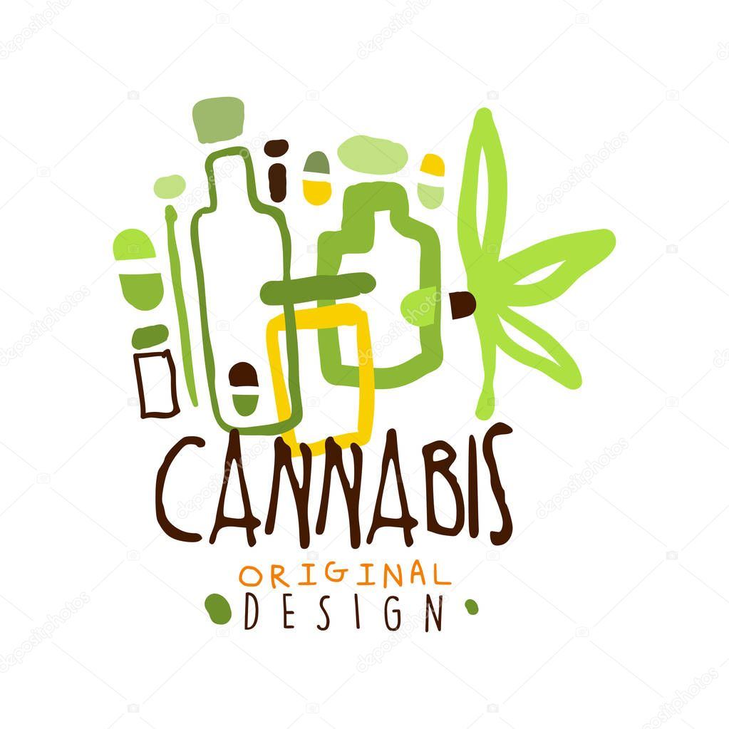 Cannabis label original design, logo graphic template