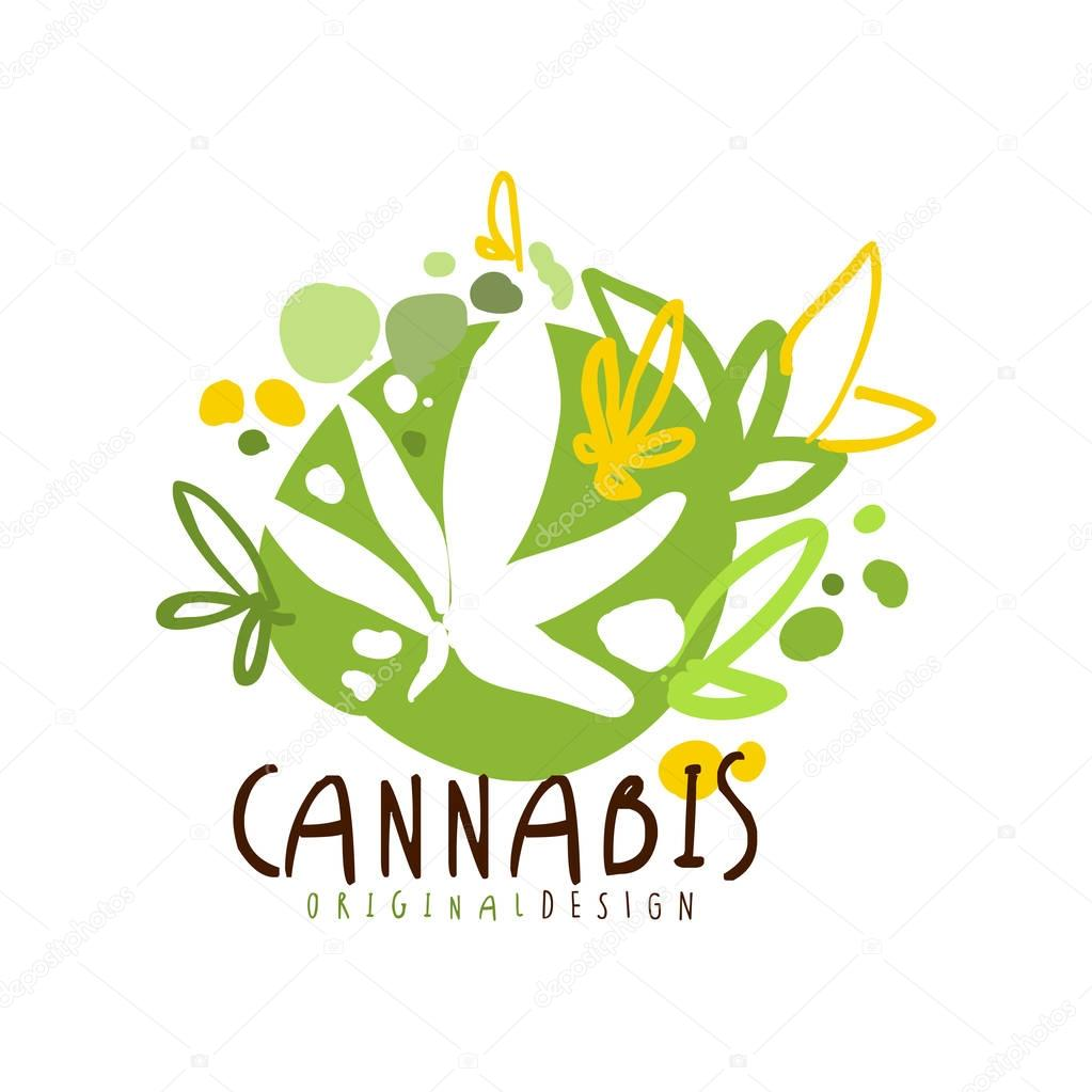 Cannabis label original design, logo graphic template hand drawn vector Illustration