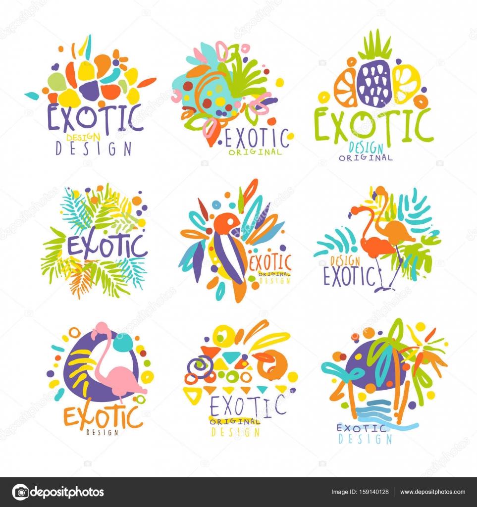Exotische, tropische Sommer Urlaub Satz von Logo-Grafik-Vorlagen ...