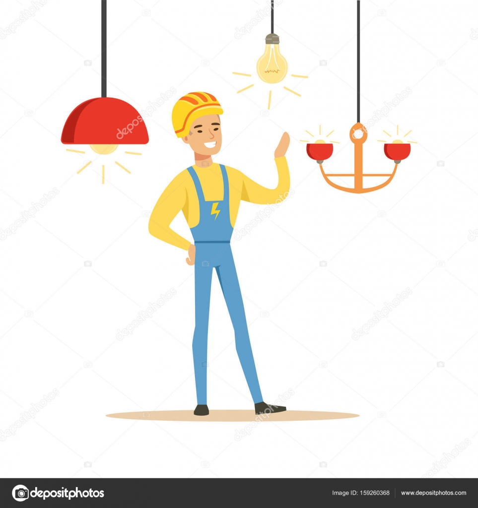 Smiling electrician in uniform installing chandeliers electric man smiling electrician in uniform installing chandeliers electric man performing electrical works vector illustration stock arubaitofo Images