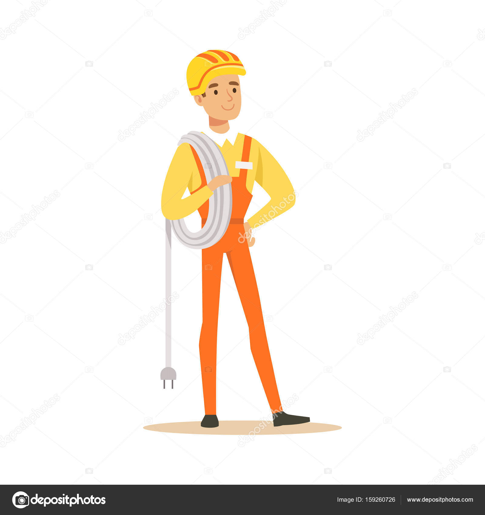 Repairman in uniform standing and holding a wire roll, electric man ...