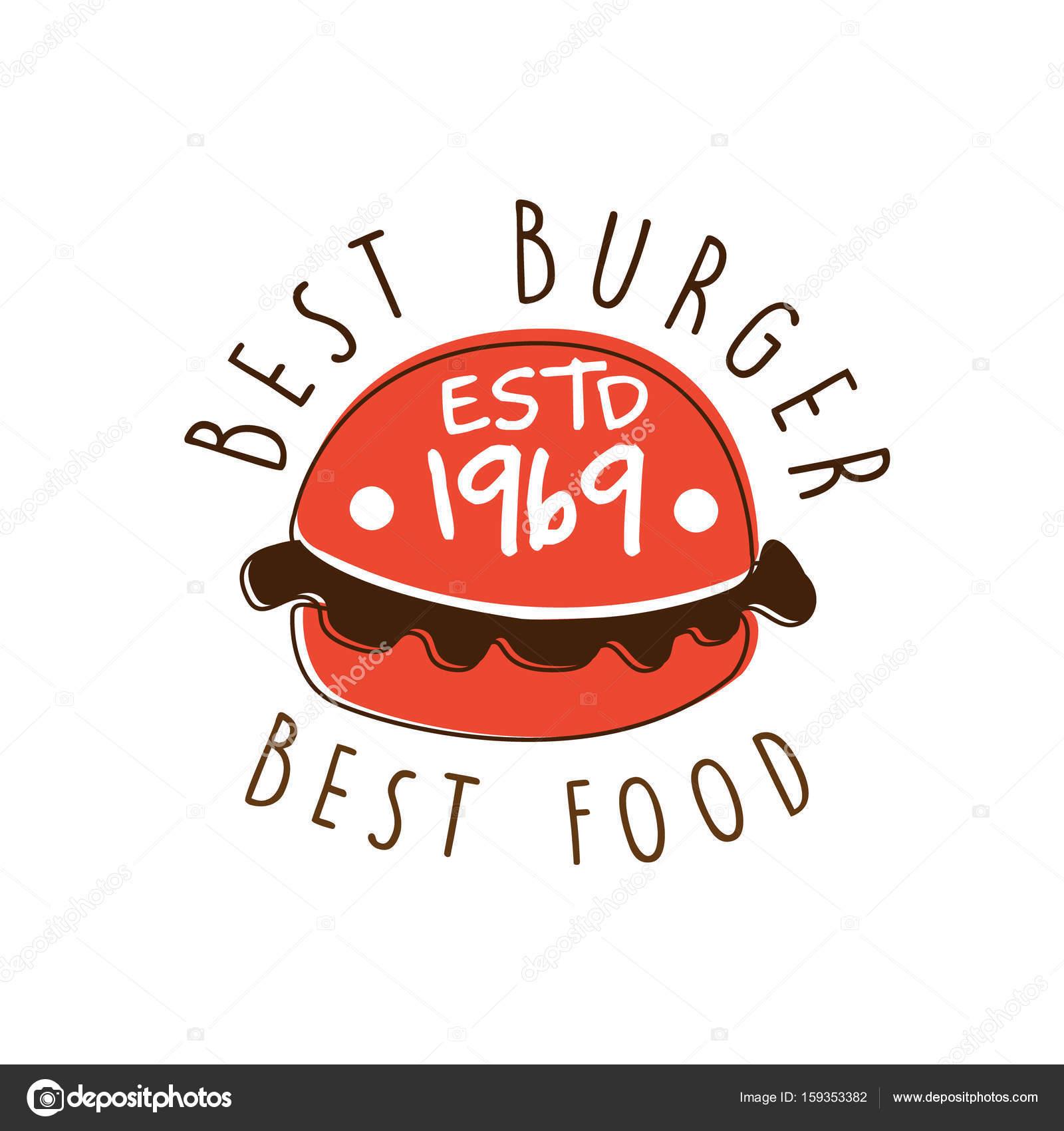 La mejor hamburguesa, mejor comida estd logo 1969 plantilla mano ...