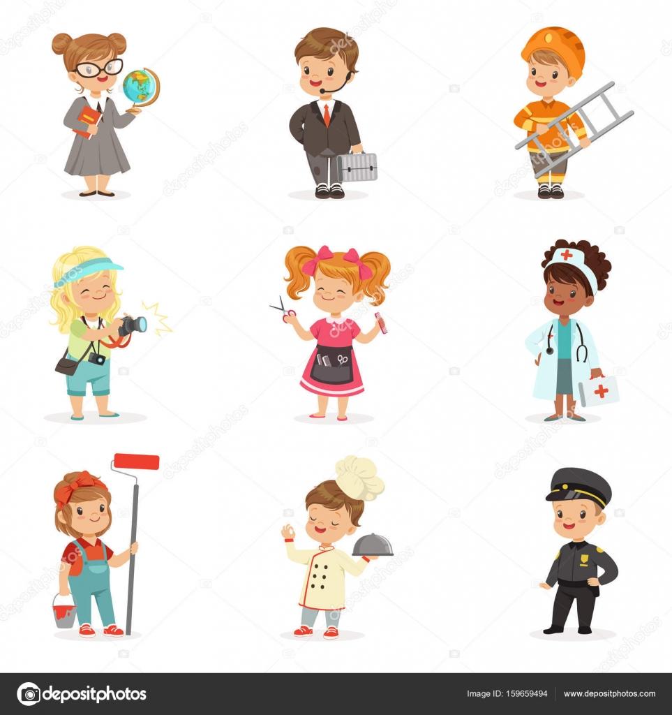 Conjunto De Profesiones Dibujos Animados Para Niños. Sonrientes Niños Y Niñas En El Trabajo Usan