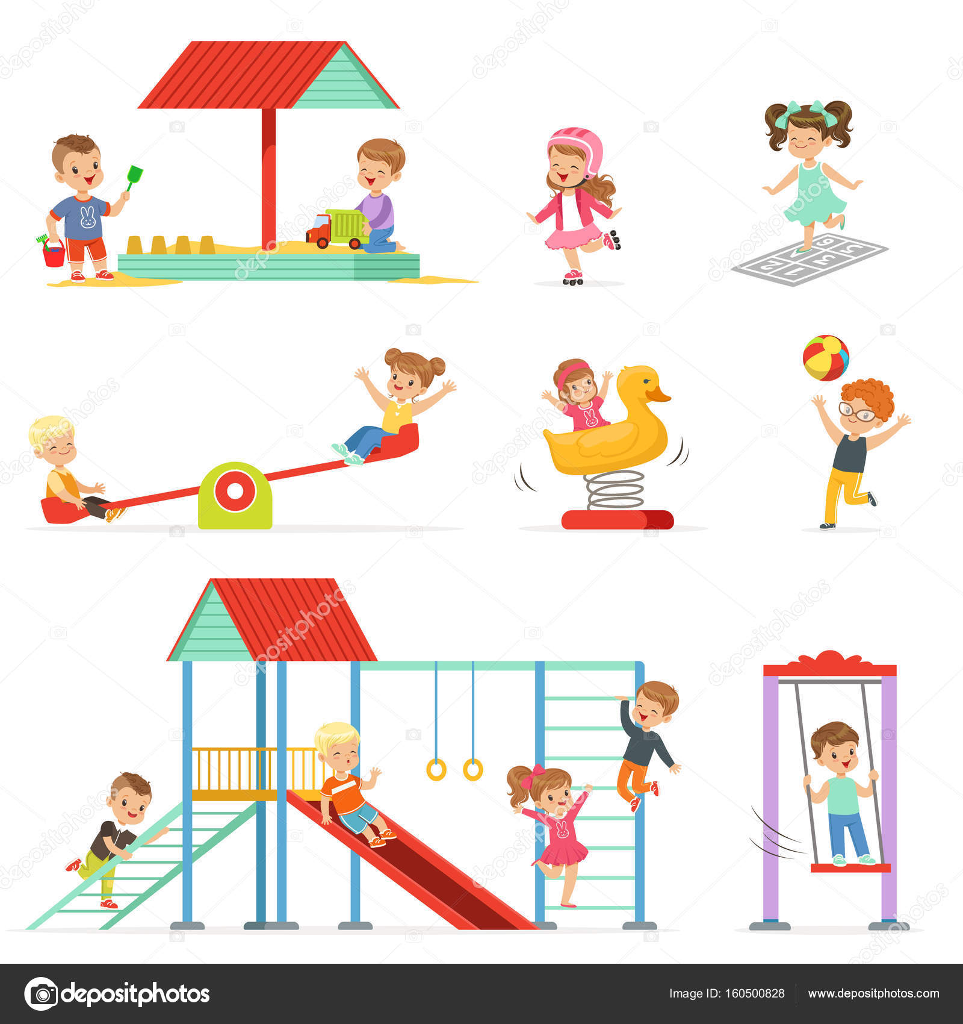Bonito Dos Desenhos Animados Crian 231 As Brincando E Se