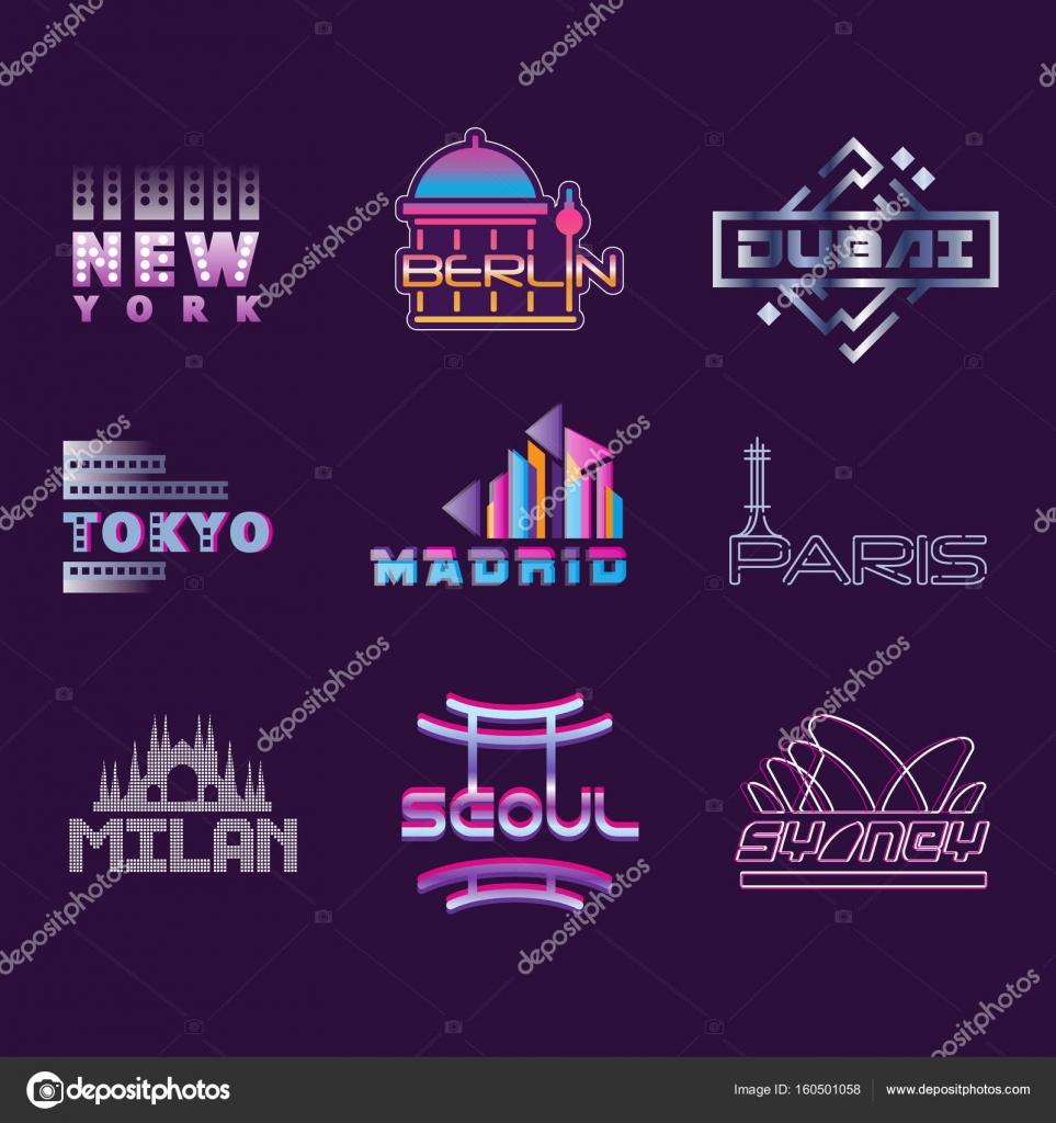Ciudades mundo conjunto de etiquetas, plantillas gráfico logo vector ...