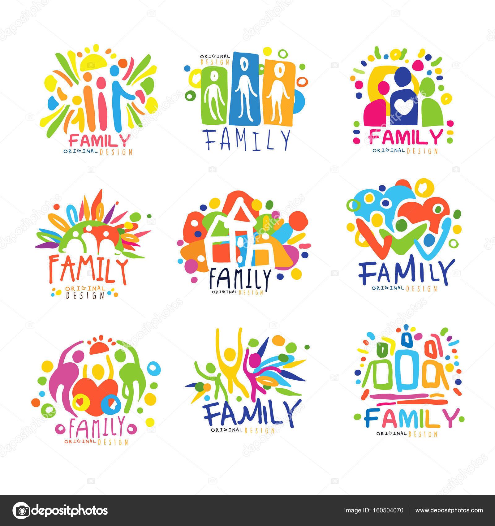 Familia colorida etiquetas de diseño original, conjunto de ...