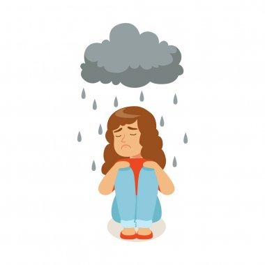 character sitting under stormy rainy clouds