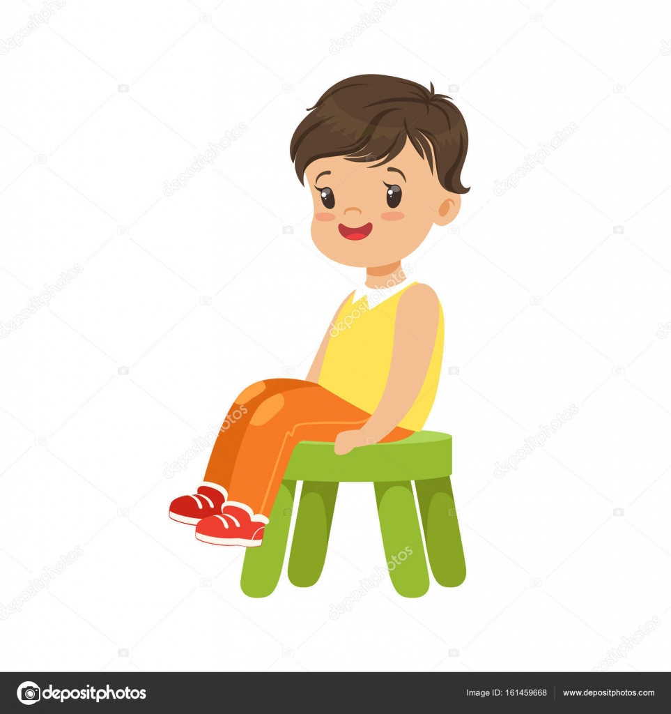 Bir Küçük Yeşil Taburede Oturan çocuk Stok Vektör Topvectors