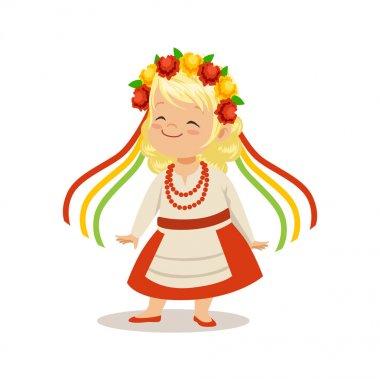 girl wearing national costume of Ukraine,