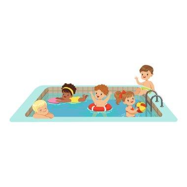 kids having fun in a swimming pool