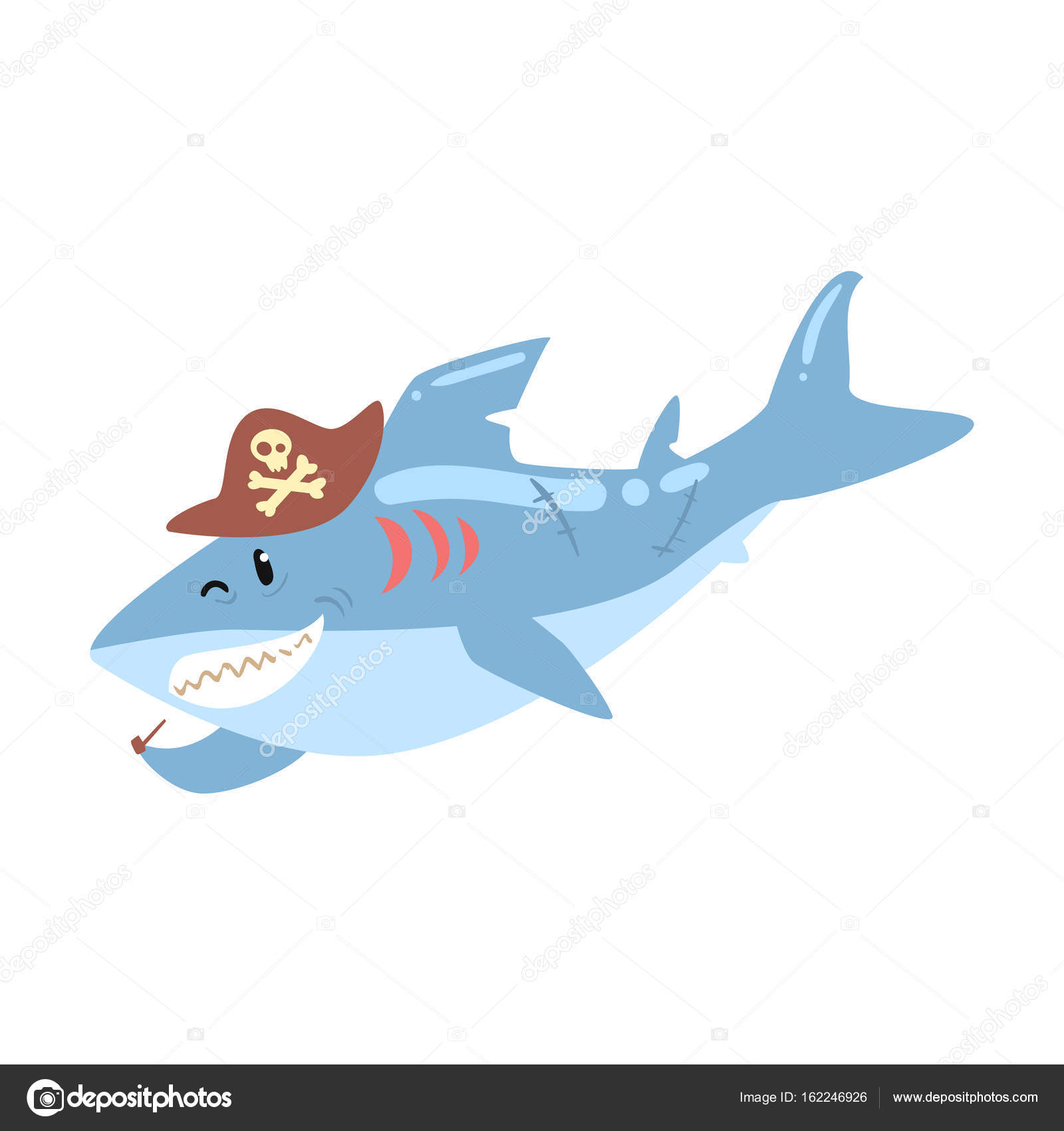 a5b439f3dc4 shark pirate in a hat smoking pipe — Stock Vector © TopVectors ...