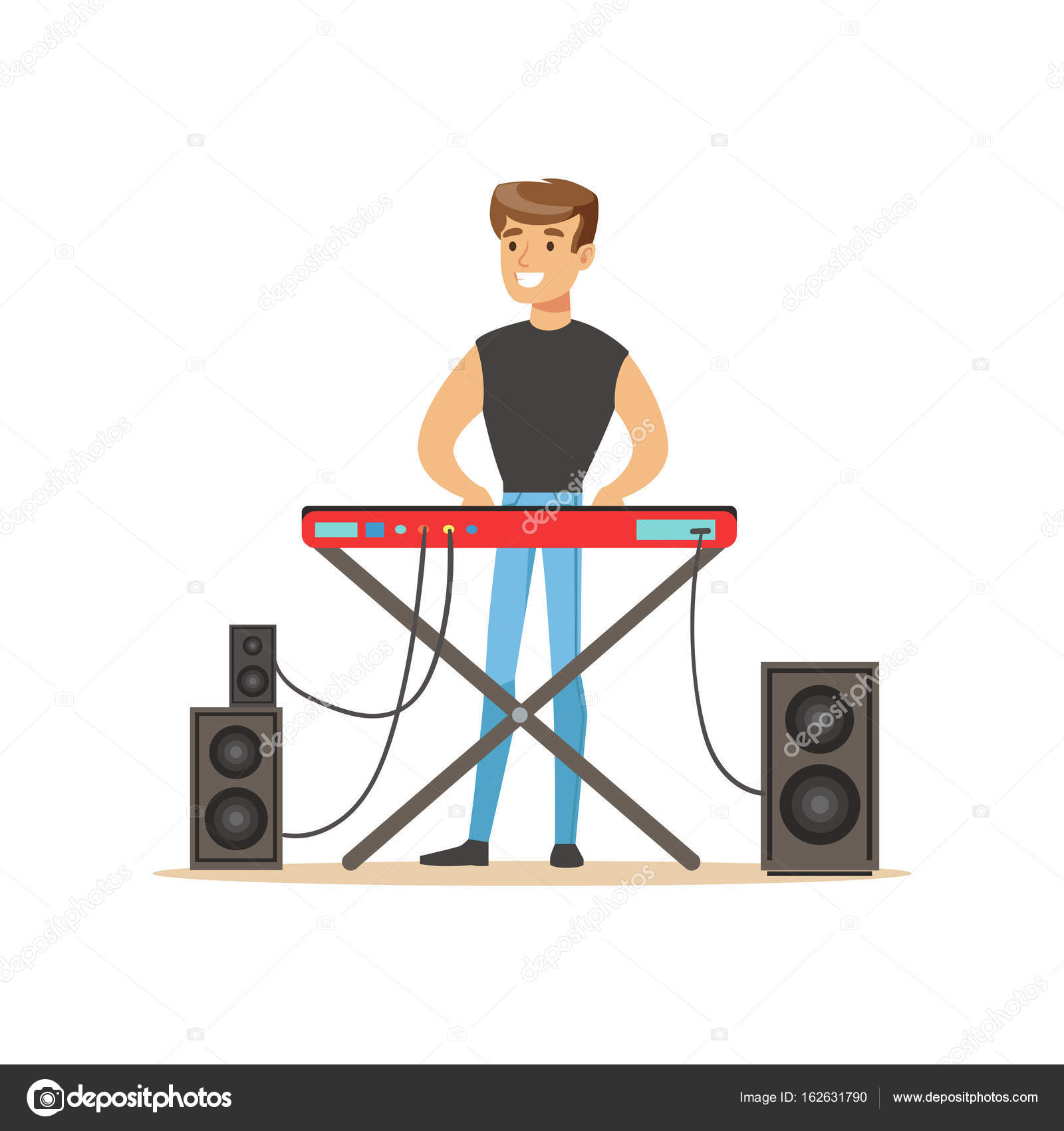 Young Man Playing Electric Piano Vector Illustration On A White Background By TopVectors