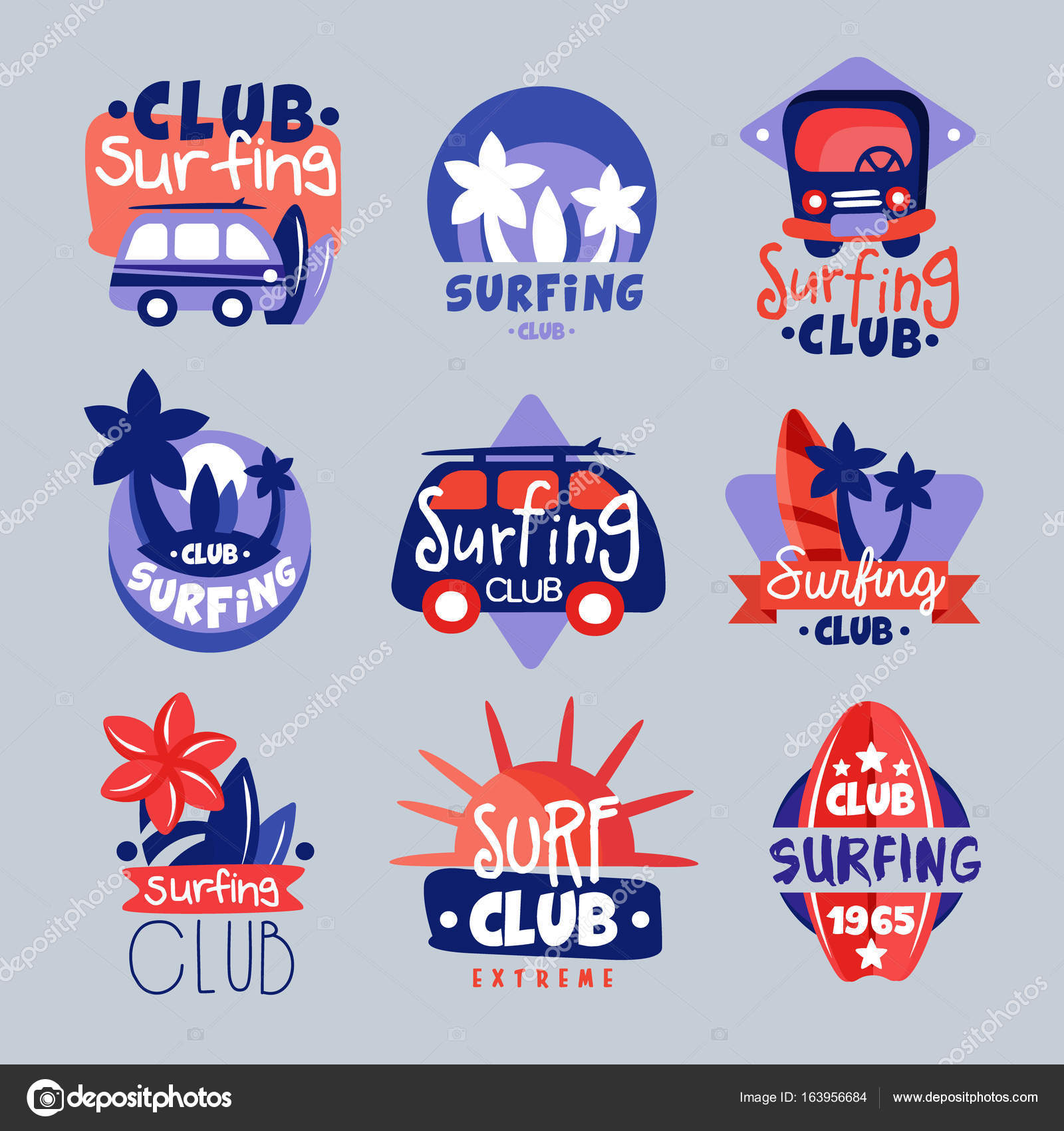 Conjunto de plantillas de logotipo club de surf — Vector de stock ...