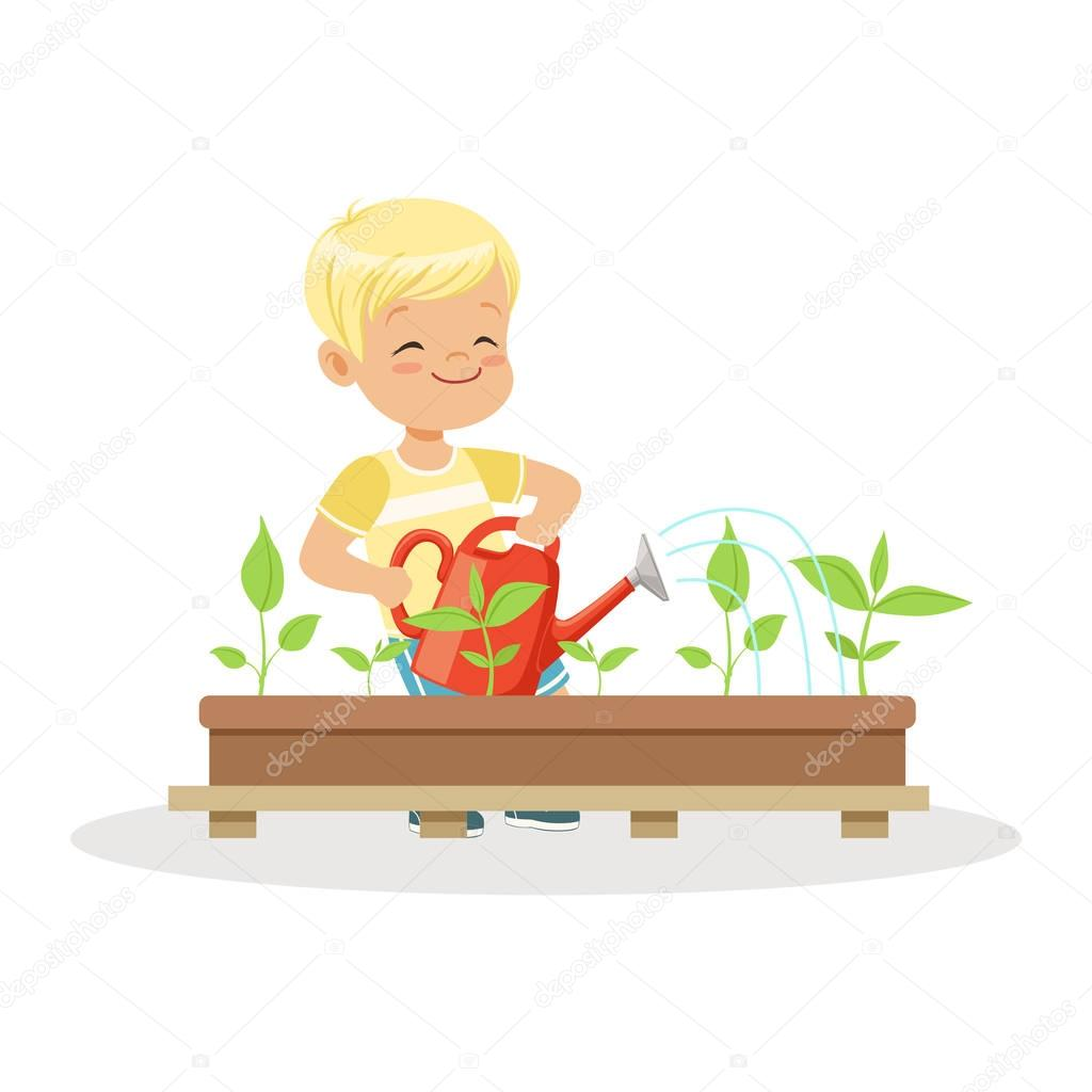 Cute happy boy watering plants from a watering can, lesson of botany in kindergarten cartoon vector Illustration
