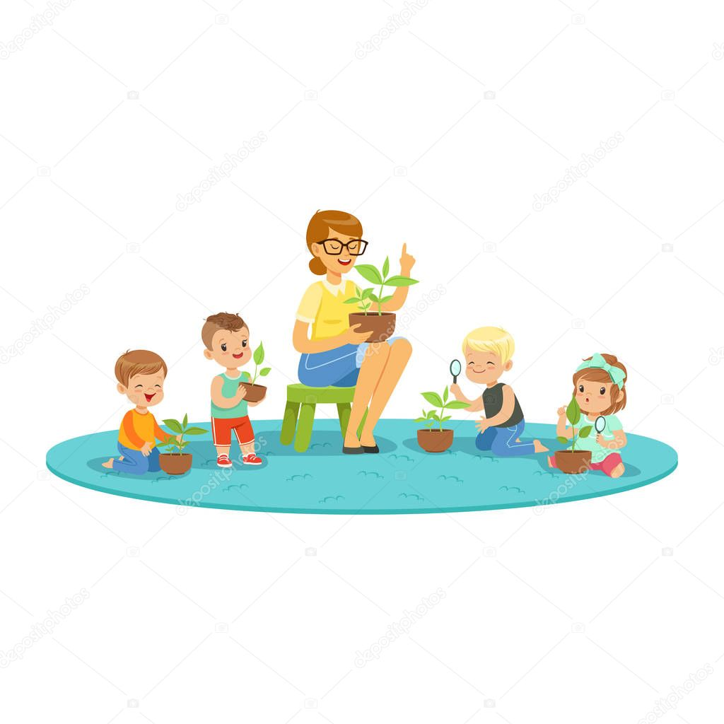 Teacher and kids learning about plants during botany lesson, kids looking through magnifier colorful detailed cartoon vector Illustration