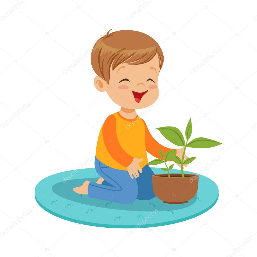 Cute happy little boy sitting on the floor and examining a plant in clay pot, lesson of botany in kindergarten cartoon vector Illustration