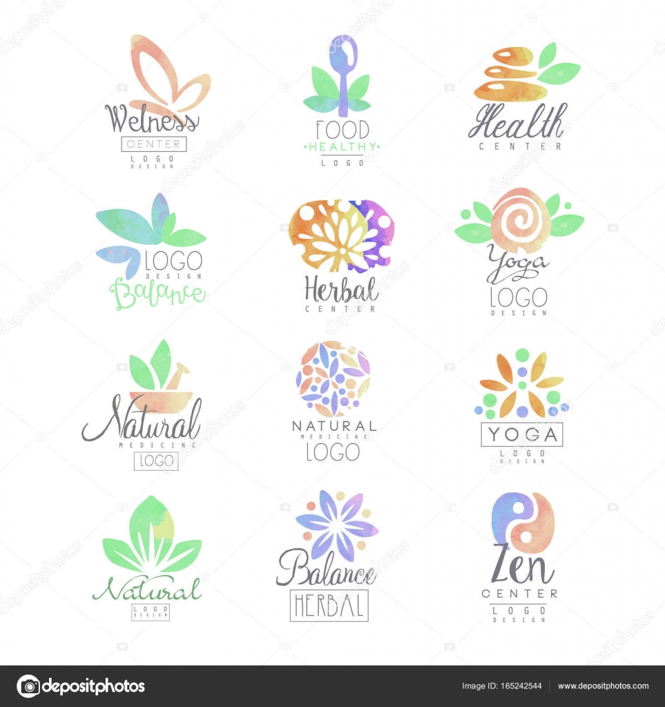 Wellness, zen, yoga, centro herbal, conjunto de plantillas de ...