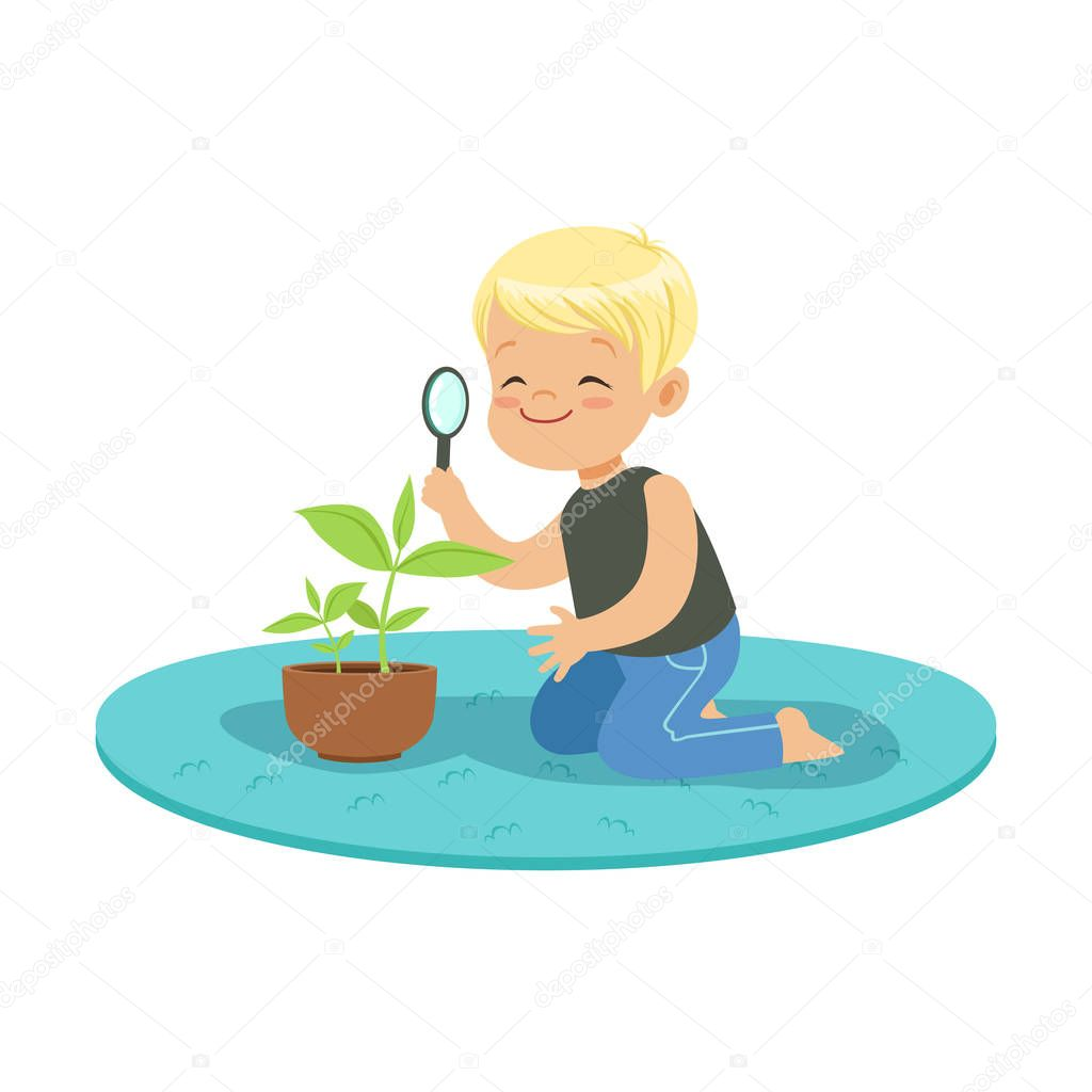 Cute happy little boy examining a plant through a magnifying glass, lesson of botany in kindergarten cartoon vector Illustration
