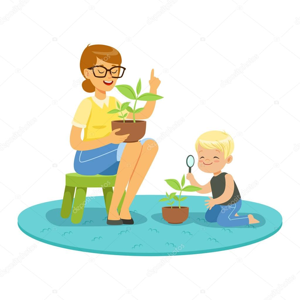 Little boy examining a plant through a magnifying glass and learning about plants with teacher, lesson of botany in kindergarten cartoon vector Illustration