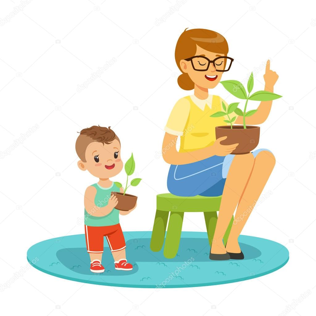 Little boy learning about plants with teacher, lesson of botany in kindergarten cartoon vector Illustration