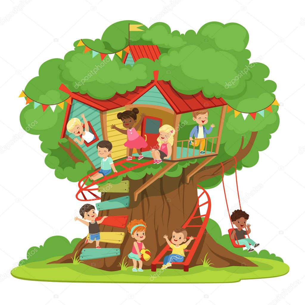 Children playing and having fun in the treehouse, kids playground with swing and ladder colorful detailed vector Illustration
