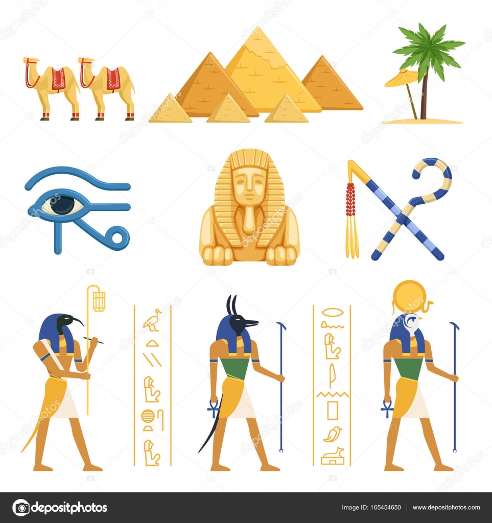 Egypt Set Egyptian Ancient Symbols Of The Power Of Pharaohs And