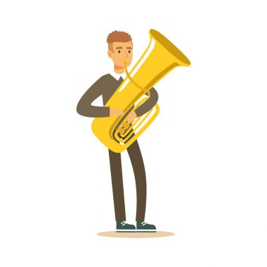 Musician man wearing a classic suit playing french horn, classical music performance vector Illustration