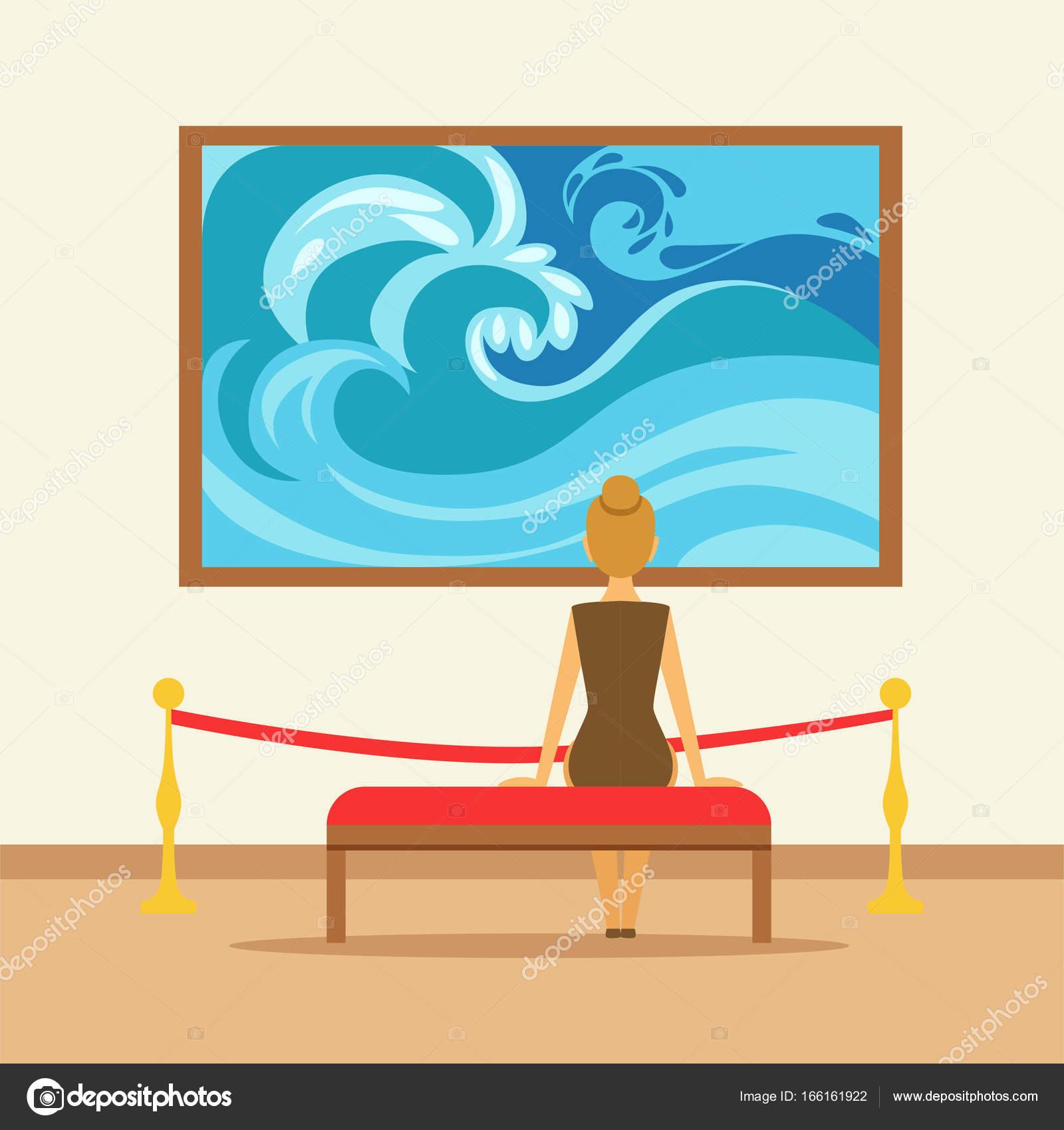 femme assise sur un banc et en regardant le tableau. Black Bedroom Furniture Sets. Home Design Ideas
