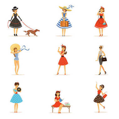 Retro girls characters set, beautiful young women wearing vintage dresses colorful vector Illustrations on a white background clip art vector
