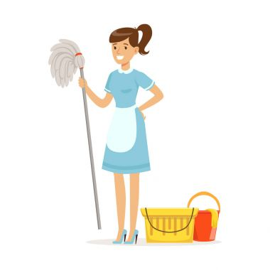 Smiling maid character wearing uniform with bucket and mop, cleaning service of hotel vector Illustration