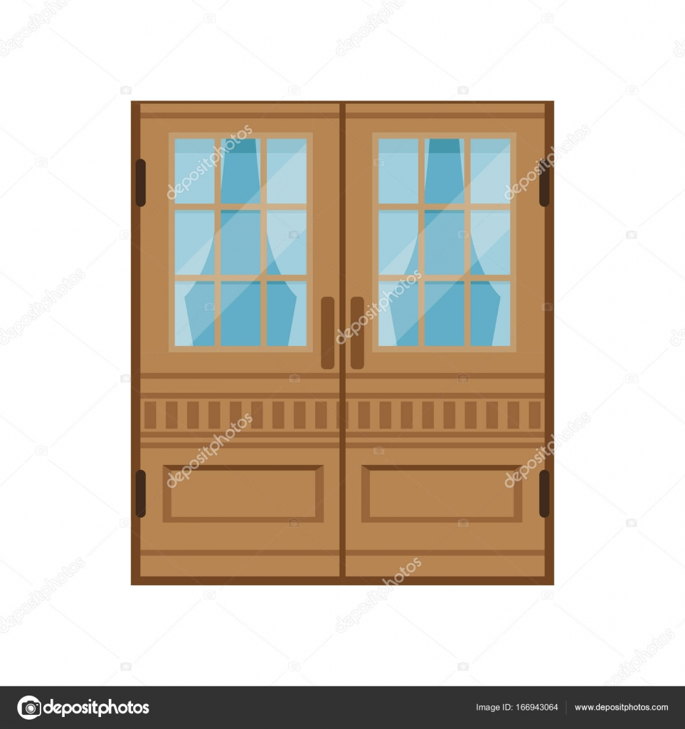 Classic double wooden doors closed elegant front door vector illustration isolated on a white background u2014 Vector by TopVectors  sc 1 st  Depositphotos : stock doors - Pezcame.Com