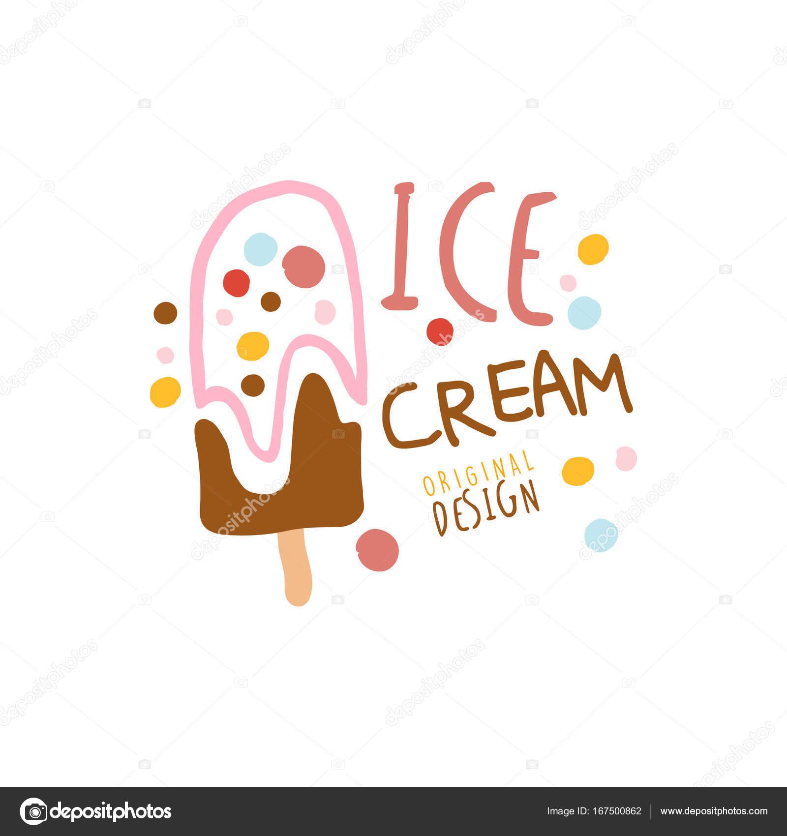Diseño original de plantilla de logotipo de helado, elemento de ...