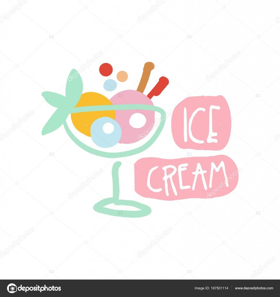 Mano colorido de plantilla de logotipo de helado dibujado vector ...