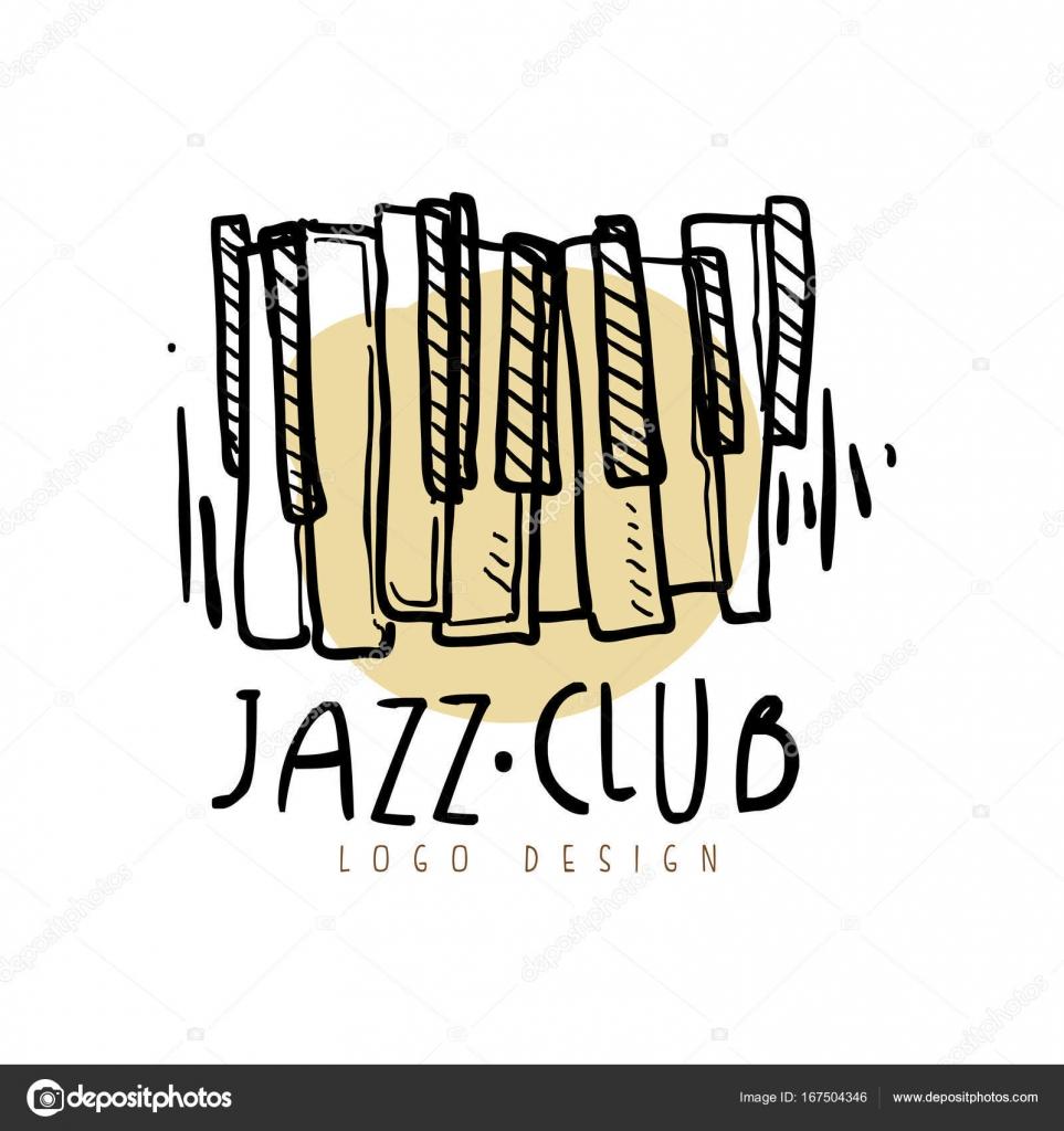 Diseño de logotipo club de jazz, música vintage etiqueta con teclado ...