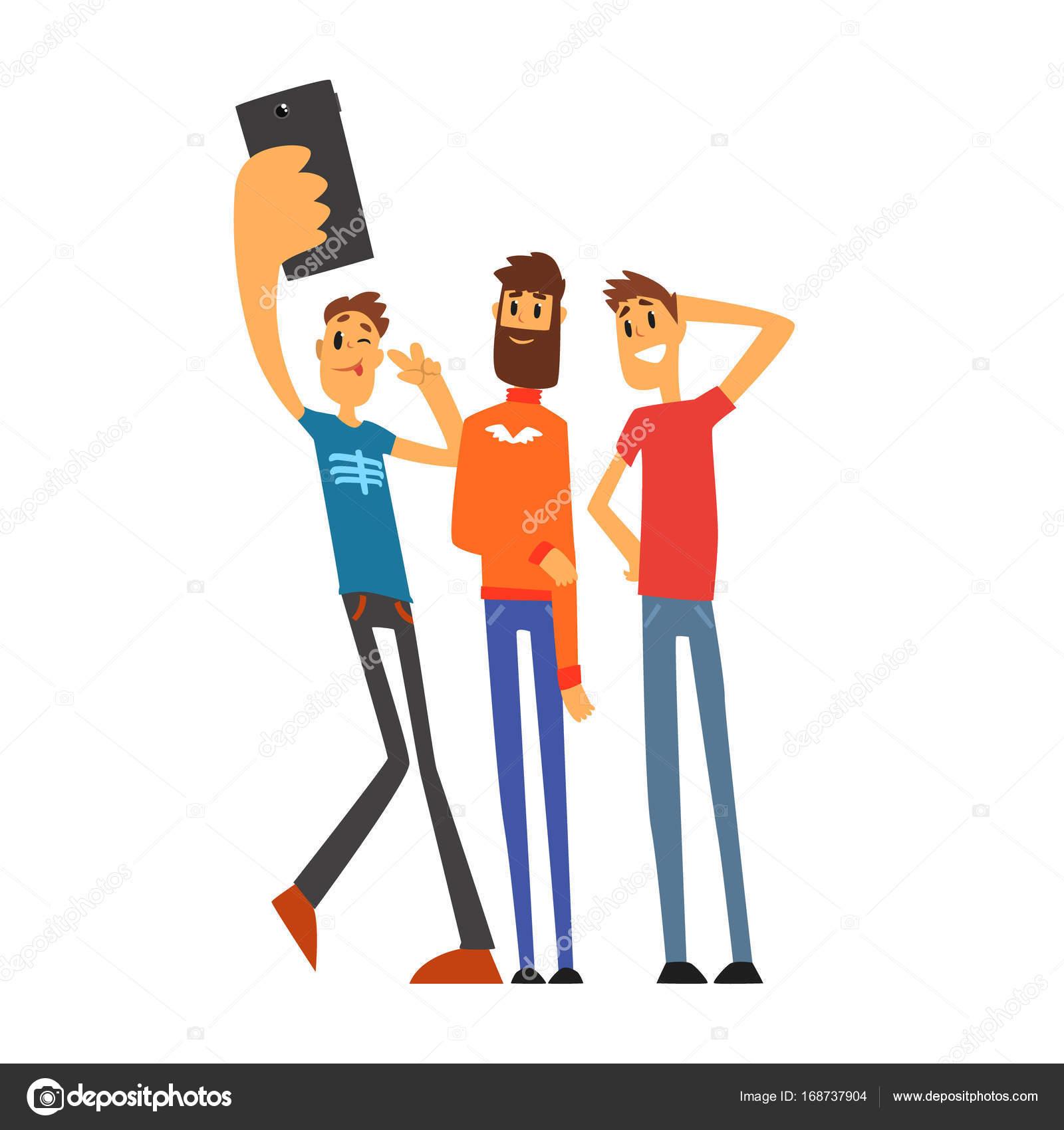 Dibujos Grupo De Amigos Grupo De Amigos Tomando Selfie Vector De