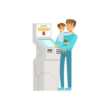 Young man with kid in his hands using electronic self service payment terminal, people carrying out operations with terminal vector Illustration