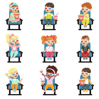 Icons set of cute little children in 3D-glasses