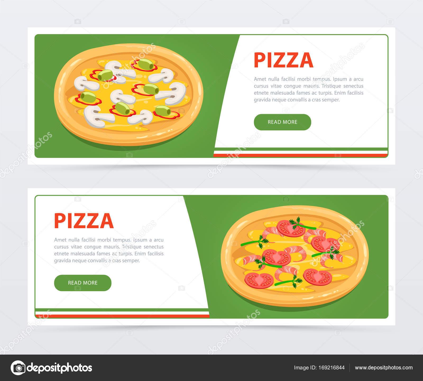 Plantilla de banner de pizzas con diferentes ingredientes — Archivo ...