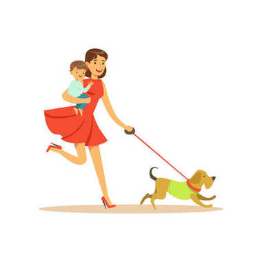 Flat super mom character, walking a dog. Happy mother with her baby in her arms. Parenthood and motherhood. Caring woman with child. Taking care of a pet. Vector illustration isolated on white. stock vector
