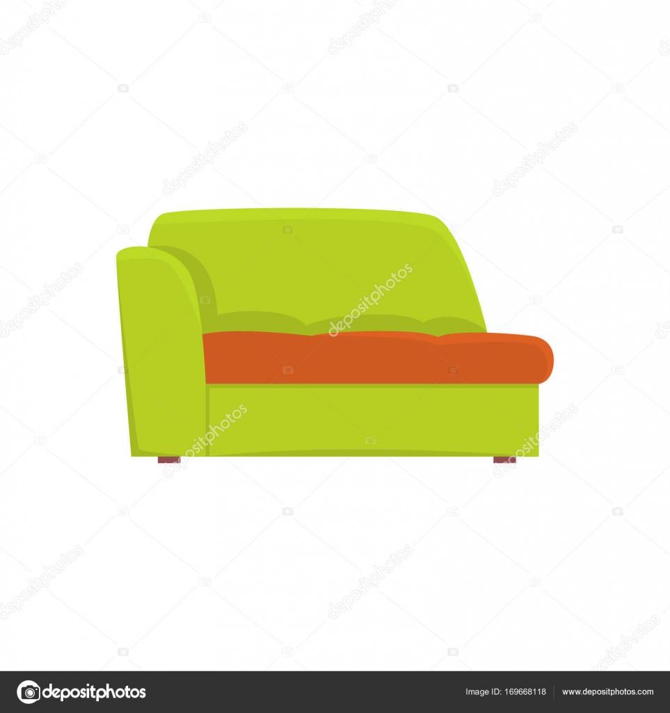 canapé vert, salon ou bureau, meubles de vecteur de dessin animé de