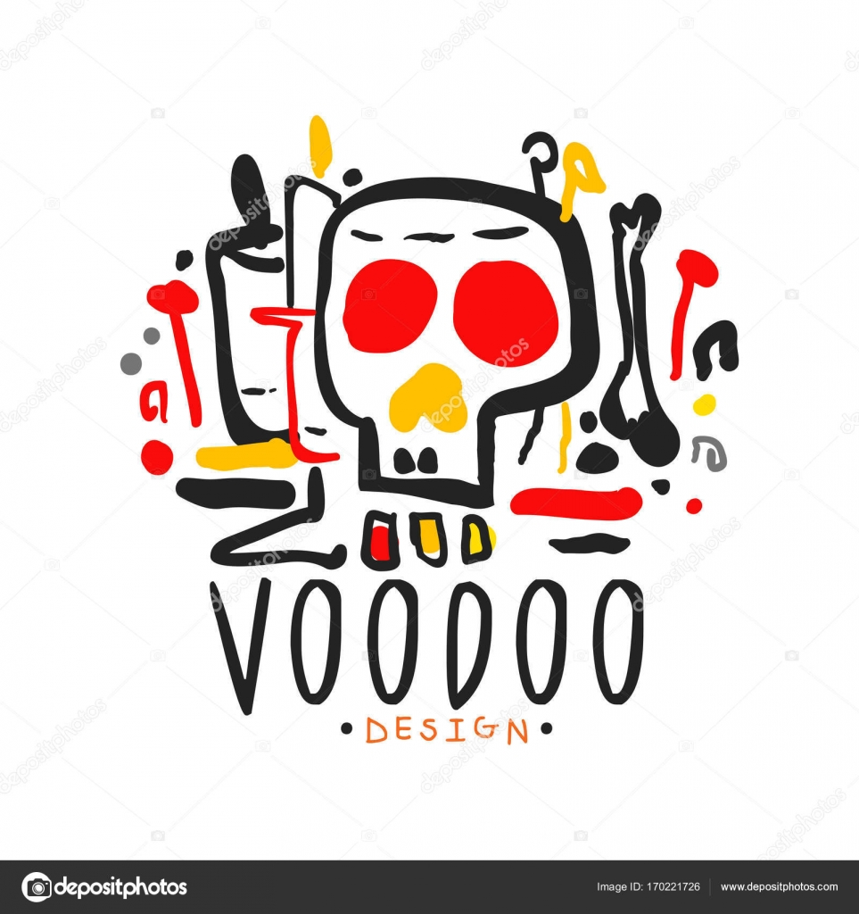 Voodoo African And American Magic Logo With Mystic Skull Stock